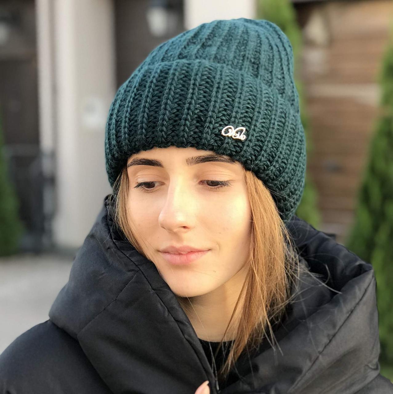 """Модная женская шапка """"Боня"""" с отворотом"""