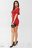 Вечернее красное платье мини с воланами на рукавах, фото 2