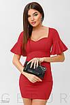 Вечернее красное платье мини с воланами на рукавах, фото 3