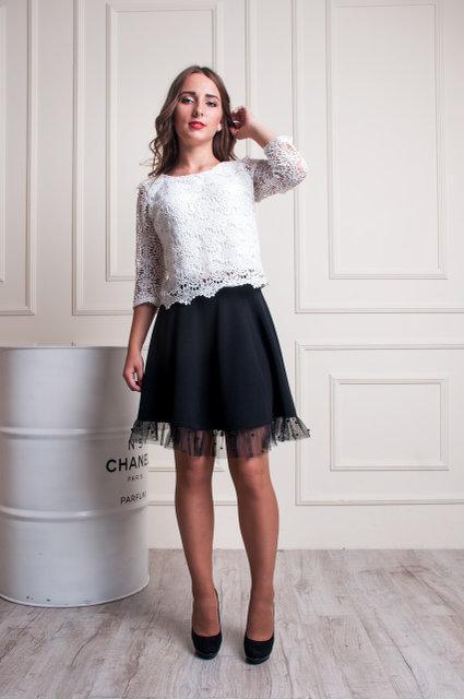 5e9f305e269 Черная женская юбка-трапеция с фатином  продажа