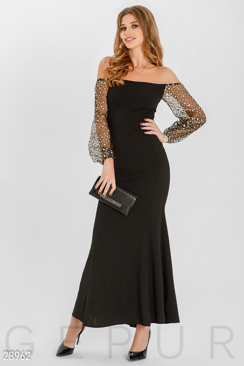 7b4665e88fd Черное Платье с Открытыми Плечами и Длинными Рукавами Из Сетки — в ...