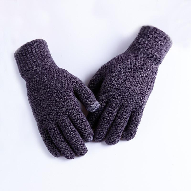 Мужские теплые серые трикотажные перчатки осень-зима