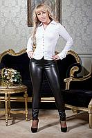 Женские легинсы с кожаными вставками