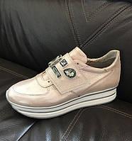 Кроссовки на липучках женские Sofis кожаные пудра 0101СОФ 575a33493b397