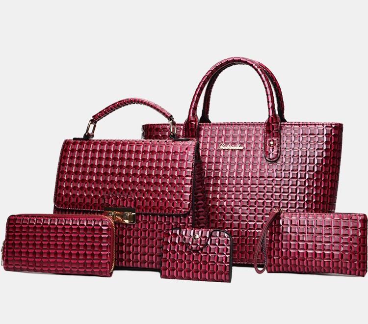 Набор женских сумок 5в1 бордовый из экокожи