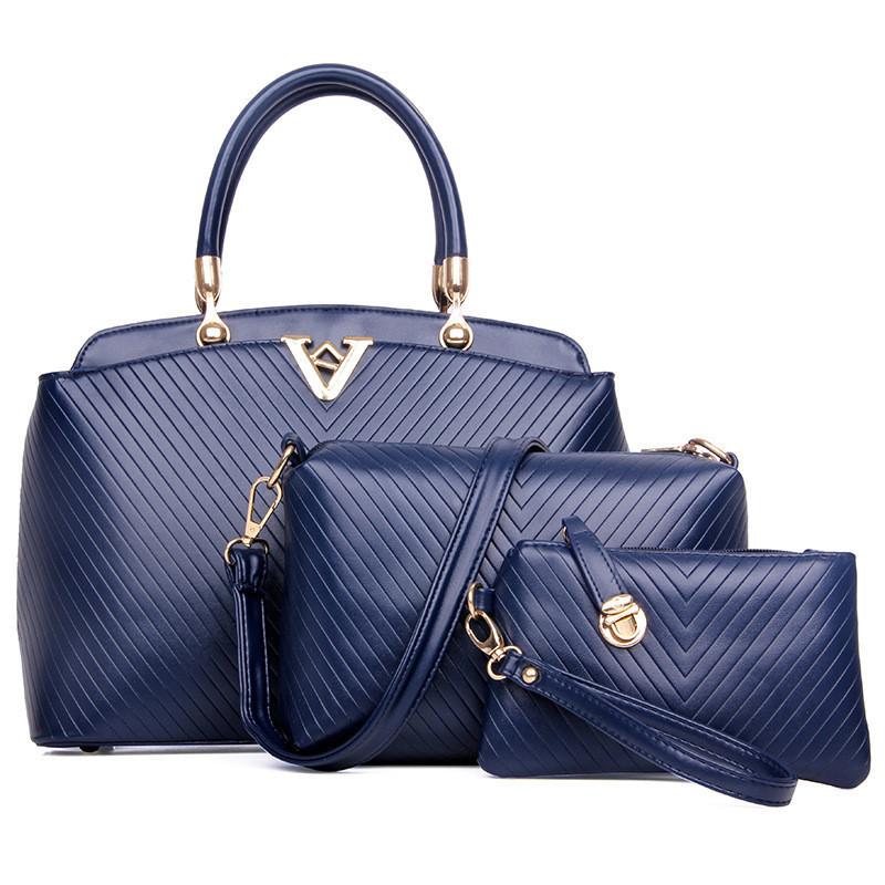 Женская сумка набор 3в1 синий из качественной экокожи