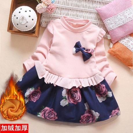 Нарядное детское платье на девочку утепленное на плюше розовое