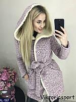Женское зимнее пальто букле на овчине с капюшоном