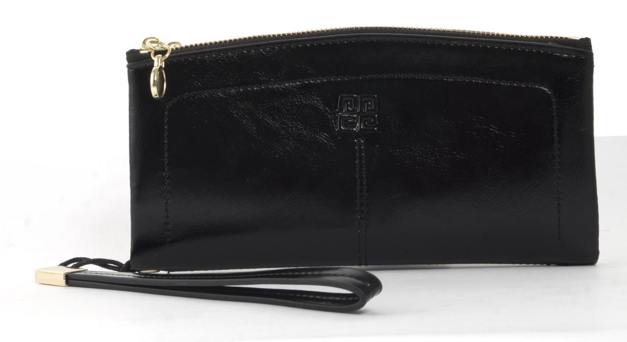 Прочный женский кошелек барсеткас картхолдером и хлястиком на рукуSaralyn art. FW99066 черный