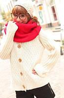 Вязаный шарф-хомут снуд красный
