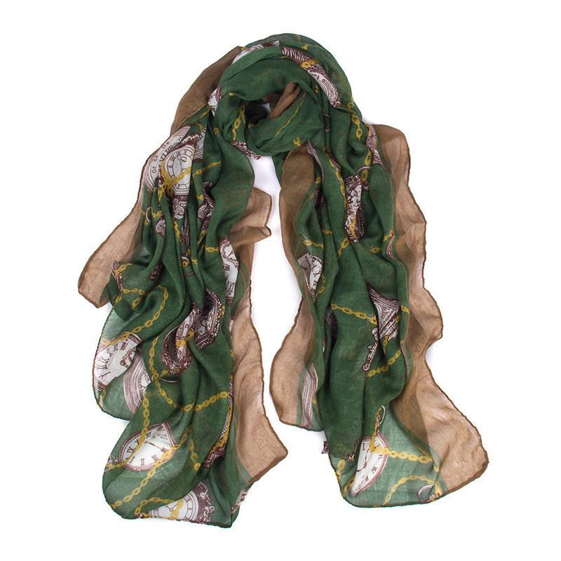 Женский зеленый шарф с рисунком в виде часов опт
