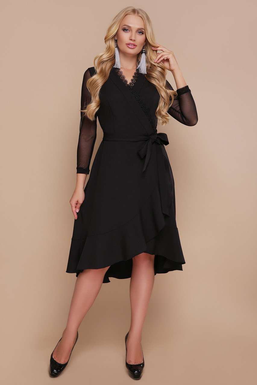 Платье размеры 48 50 52 полномерное с воланом на запах