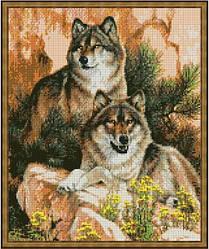 """Схема для вышивки бисером 38х32см """"Пара волков 4"""""""
