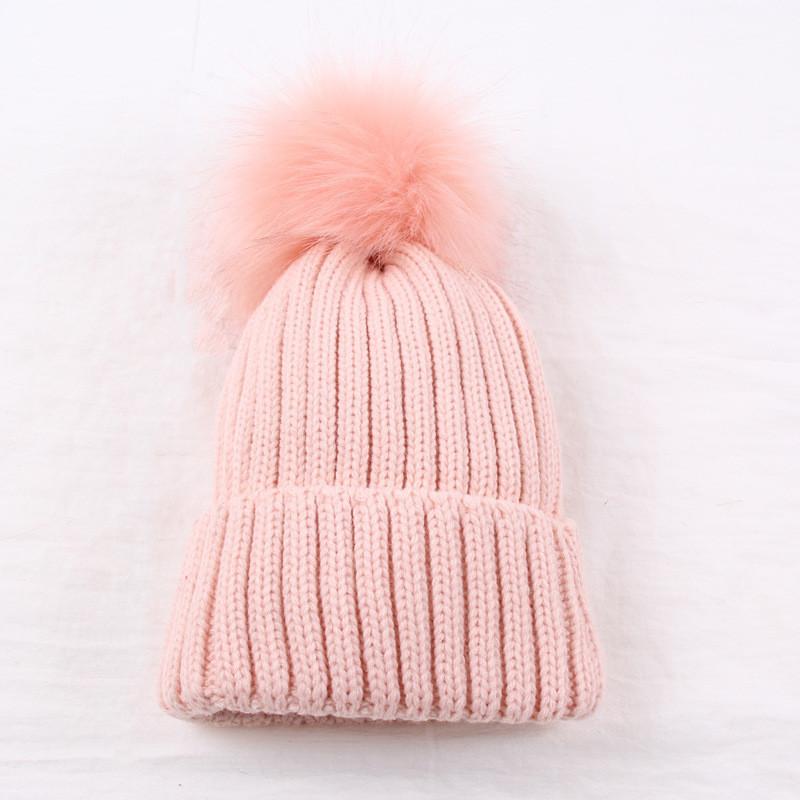 Женская зимняя шапка с большим помпоном однотонная розовая опт