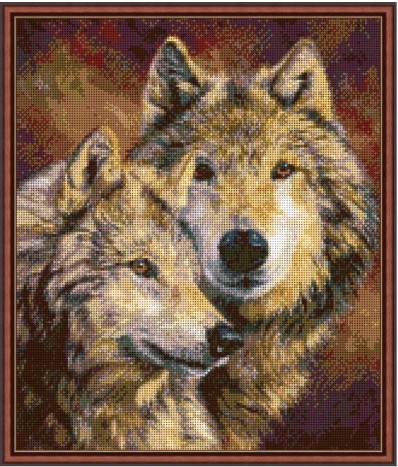 """Схема для вышивки бисером 38х32см """"Пара волков 1"""""""