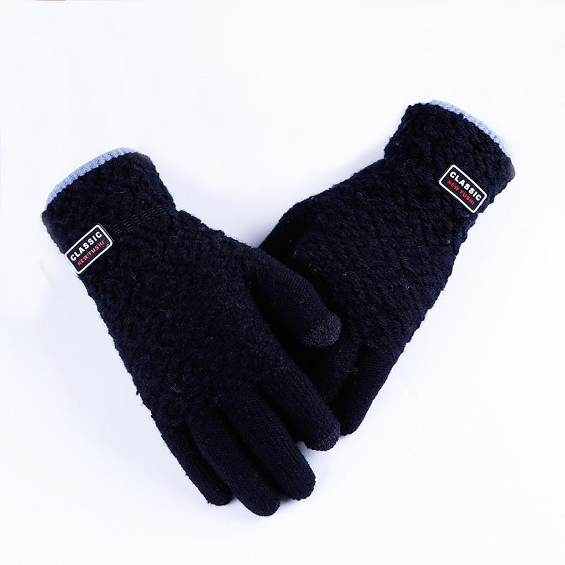 Зимние черные мужские перчатки Classic опт
