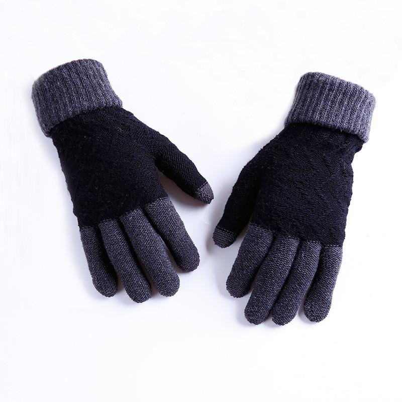 Перчатки зимние мужские шерстяные черные опт