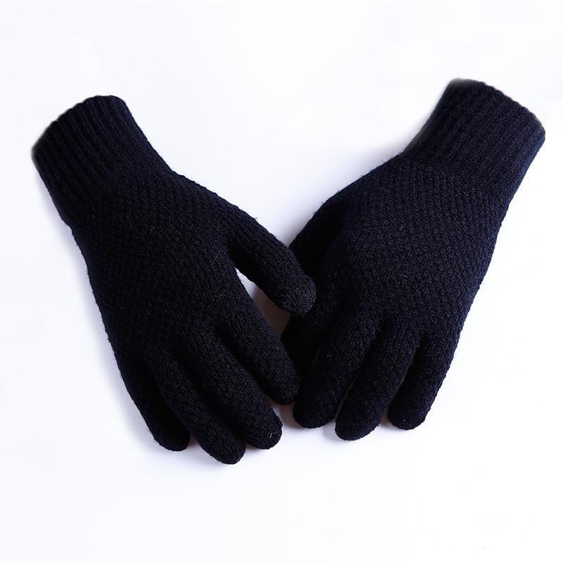Мужские теплые черные трикотажные перчатки осень-зима опт