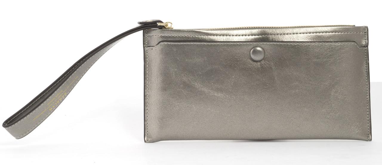 Тонкий женский кошелек с хлястиком на рукуSaralyn art. 1102 серебристый