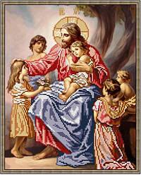 """Схема для вишивки бісером 34х27см """"Ісус і діти"""""""