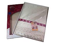 Жаккардовая скатерть 160-220 см бежевого цвета, фото 1