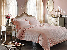 Комплект постельного белья Tivolyo Home BAMBURA JACARLI PEMBE pudra/Пудра евро