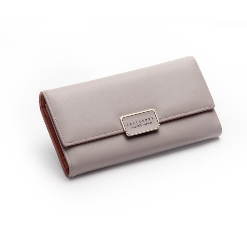 Женский кошелек портмоне светло серый тройного сложения из экокожи опт