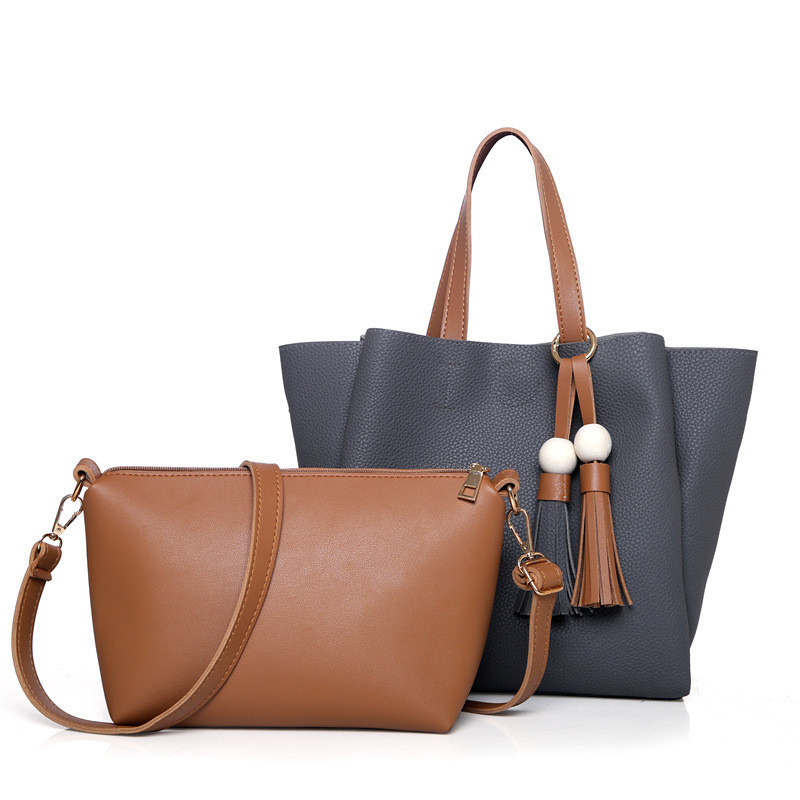 Женская сумка с кисточками большая серая + клатч из экокожи