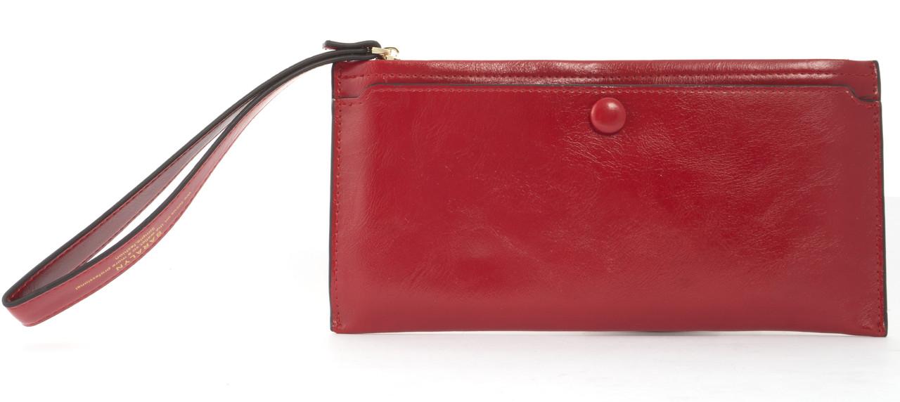 Тонкий женский кошелек с хлястиком на рукуSaralyn art. 1102 красный