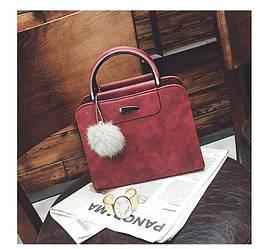 Женская сумка бордовая с ручками и плечевым ремешком из экокожи