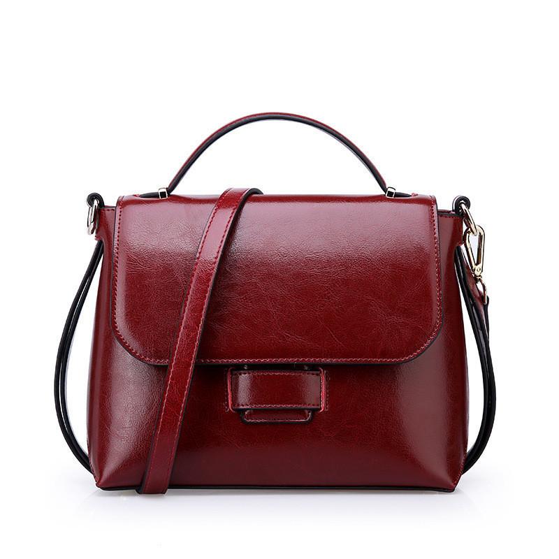 Женская сумка стильная из натуральной кожи бордовая