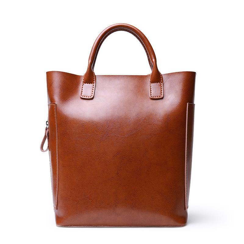 Женская сумка вместительная кожаная коричневая
