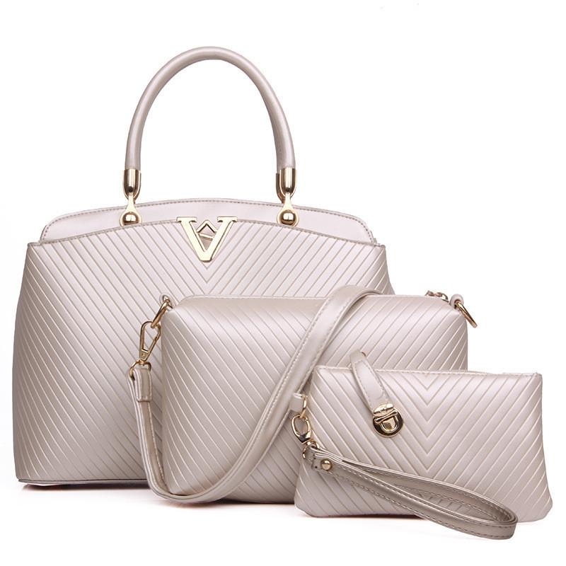 a4409f5df75f Женская сумка набор 3в1 бежевый из качественной экокожи купить по ...