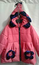 Детская куртка для девочки Ромашка р.98-116 розовый+темно-синий