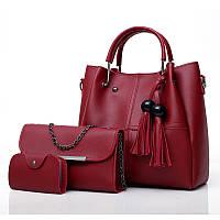 Набор женских сумок 3в1 с косточками бордовый из качественной экокожи