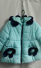 Детская куртка для девочки Ромашка р.98-116 мята+темно-синий