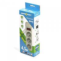 Сетевой фильтр Maxxter SPM3-G-15G 4.5 м кабель 3 розетки серый