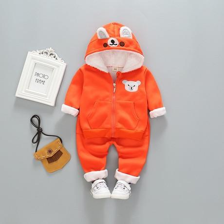 Костюм детский на мальчика  утепленный зима-осень оранжевый 110 размер