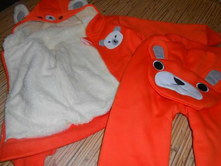 Костюм детский на мальчика  утепленный зима-осень оранжевый 110 размер, фото 2