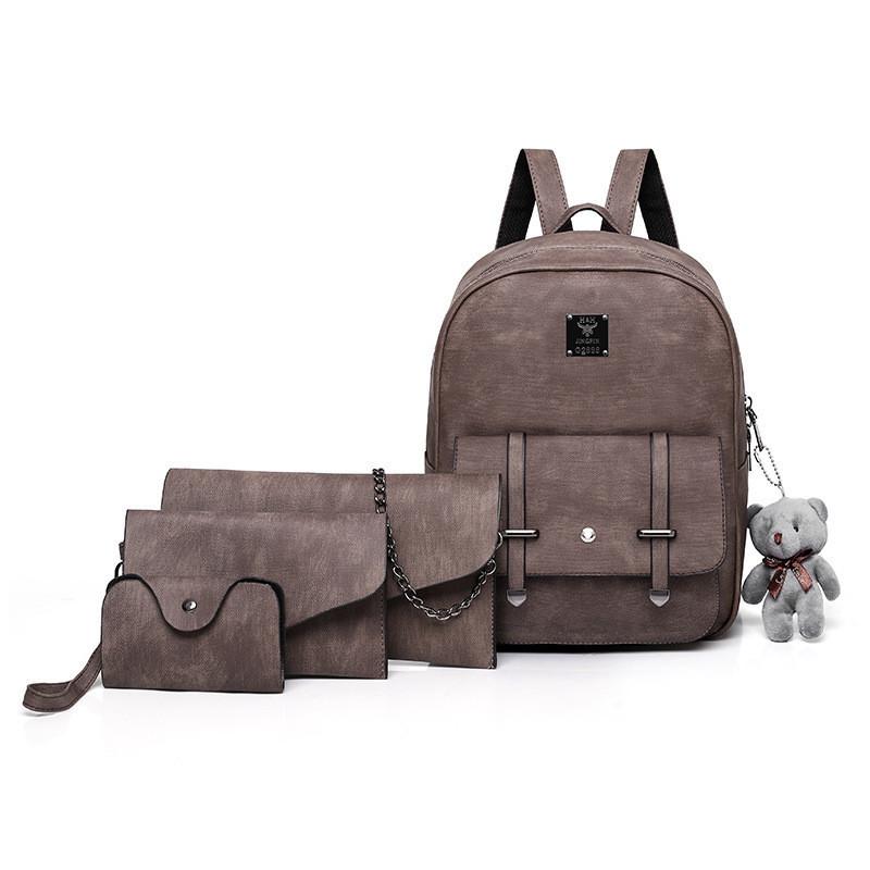 Набор 4в1 рюкзак + клатч, кошелёк и визитница коричневый экокожа