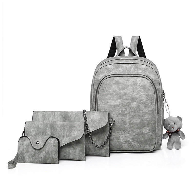Школьный рюкзак + клатч, кошелёк и визитница набор серый экокожа