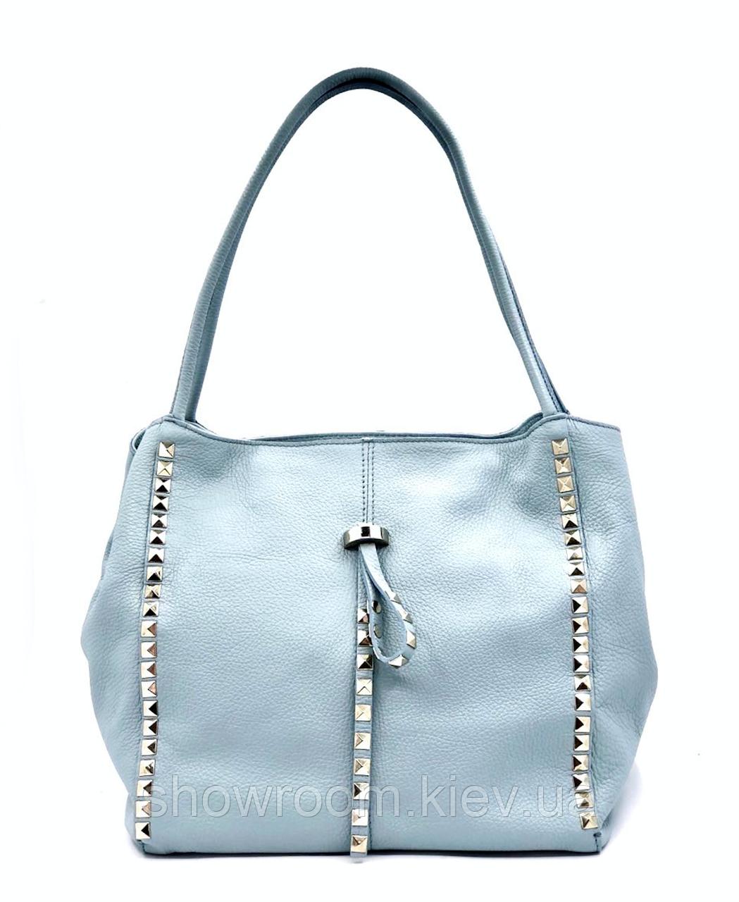 Сумка шоппер женская Laura Biaggi (80-05) голубая кожаная
