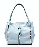 Сумка шоппер женская Laura Biaggi (80-05) голубая кожаная, фото 1