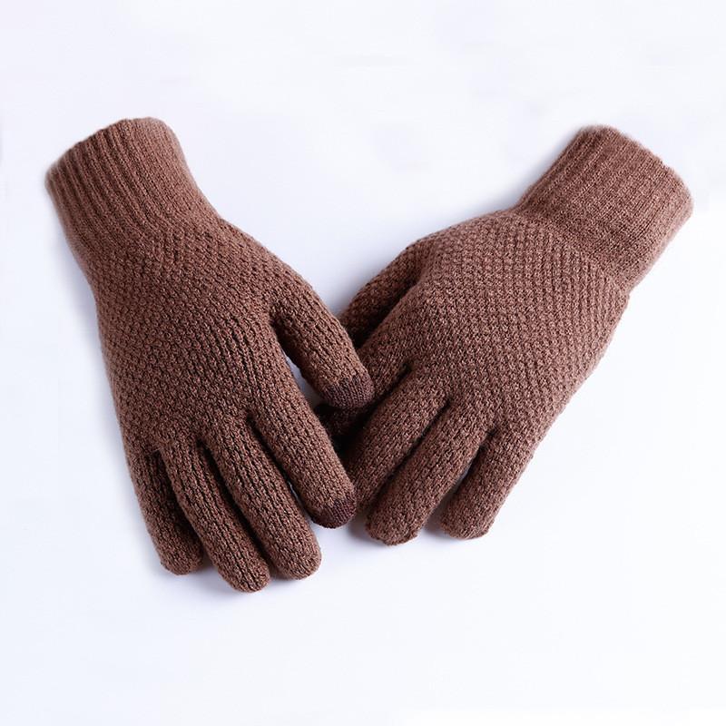 Мужские теплые трикотажные перчатки осень-зима коричневые