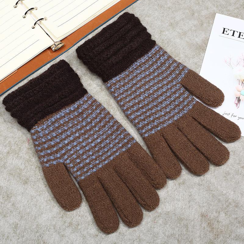 Теплые шерстяные женские перчатки в полоску коричневые