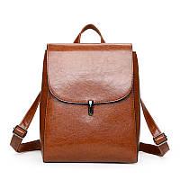 Рюкзак-сумка женская из качественной экокожи коричневая