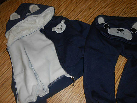 Костюм детский на мальчика  утепленный на флисе  зима-осень синий, фото 2