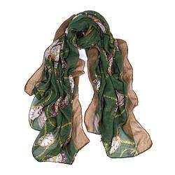 Женский зеленый шарф с рисунком в виде часов