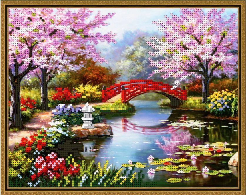 """Схема для вышивки бисером 24х19см """"Весенний мостик"""""""