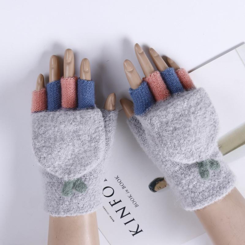 Женские варежки с открытыми пальцами серые опт